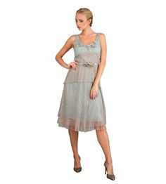Vintage Inspired String of Roses Party Dress in Silver by Nataya