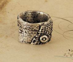 Burlap Collage Ring by ardent1 on Etsy