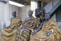 Africa    The photograph depicts Asante Paramount Chief Nana Akyanfuo Akowuah Dateh II, regional chief Kwaku Addai (R) and the heir to Asafo stool (L). He was both Akwamuhene (chief of Akwamu, one of the early Akan kingdoms) and Asafohene (captain of an Asafo company, or a ceremonial head of a group of kinsmen). This photograph was taken when Eliot Elisofon traveled to Africa from March 17, 1970 to July 17, 1970.  {Stunning Kente cloth and wearing traditional handcrafted Ashante gold…
