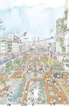 ケンチクイラストレーター、イスナデザイン『おもろい御堂筋の未来』 #ランドスケープ #建築 #パース #未来 #イラスト #デザイン #街 #道 #illustration #perspective #isnadesign #landscape #design #architecture #street #future