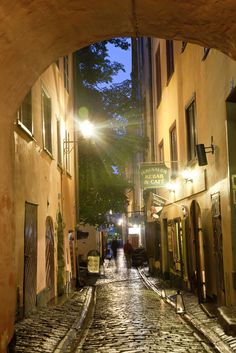 Historic old street in Gamla Stan, Old Town, Stockholm, Sweden