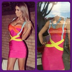 Herve leger Celebrity dress!!! Multicolor corte cruzado que se ve espectacular
