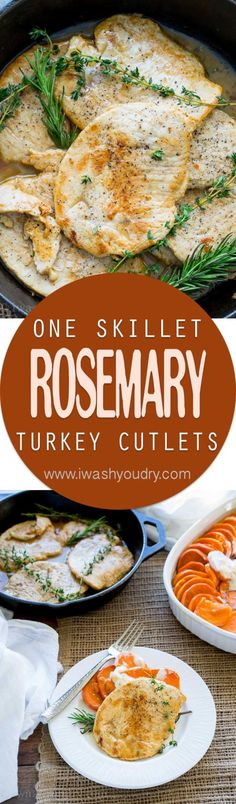 I can't believe how quick these Rosemary and Thyme Turkey Breast Cutlets came together. My whole family loved these! I love how it uses just one skillet! Turkey Cutlet Recipes, Cutlets Recipes, Turkey Recipes, Chicken Recipes, Paleo Dinner, Dinner Recipes, Turkey Cutlets, Clean Eating, Healthy Eating
