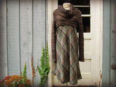 Chunky Cowl Turtleneck Plaid Wool Dress// Medium by emmevielle, $79.00