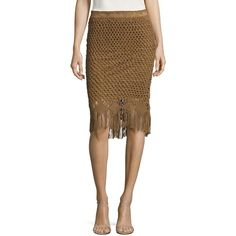 Polo Ralph Lauren Fringe Crocheted Suede Skirt ($599) ❤ liked on Polyvore featuring skirts, suede fringe skirts, long bohemian skirt, boho skirts, long fringe skirt and textured skirt