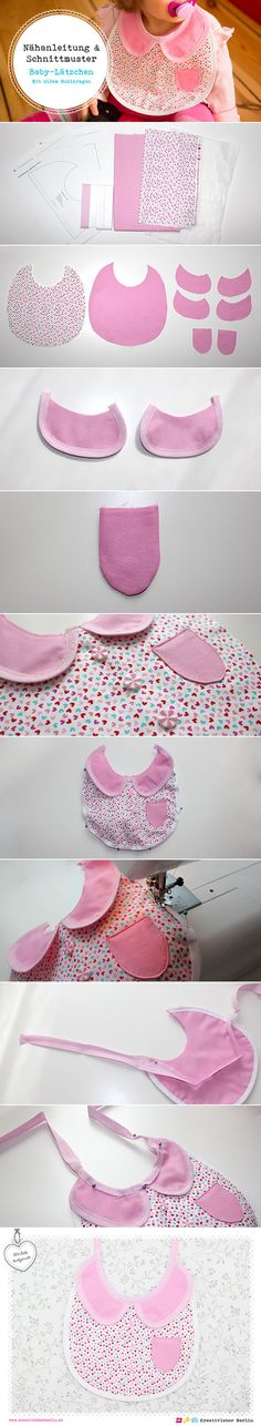 Bib with collar - girl Baby Sewing Projects, Sewing For Kids, Sewing Hacks, Sewing Tutorials, Sewing Crafts, Sewing Patterns, Diy Baby Gifts, Baby Crafts, Couture Bb