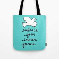 Embrace Your Inner Peace Tote Bag by claudineintner Beach Bags, Inner Peace, Poplin Fabric, Hand Sewn, Totes, Stress, Reusable Tote Bags, Colorful, Sewing