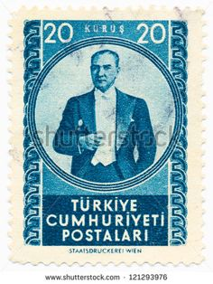 TURKEY - CIRCA 1952: A stamp printed in Turkey shows portrait of Mustafa Kemal Ataturk (1881-1938), circa 1952 - stock photo