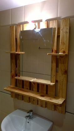 Pallet wood projects diy bathroom 37 New Ideas Diy Pallet Furniture, Diy Pallet Projects, Wood Furniture, Wood Projects, Furniture Plans, Furniture Outlet, Pallet Ideas, Garden Projects, Modern Furniture