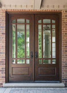 Awesome Brown Front Door Design Idea with Glass, Black Door Handles, Brown Brick Wall, and Gray Stone Floor Tile -