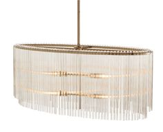 A modern oval chandelier complete with tiered glass rods draping over its frame. The four lights provide plenty of light when hanging over a rectangle dining ta
