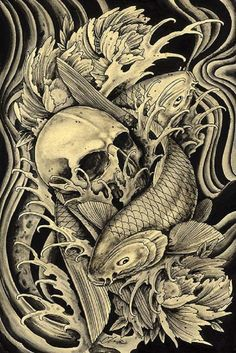 Mortality by Clark North Skull w/ Koi Fish Tattoo Canvas Art Print