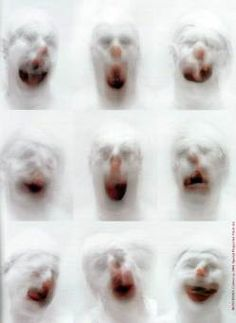 These images are taken by Roni Horn. They are blurred/moving images of clown faces. I have pinned this image because it looks slightly terrifying and they have a scary effect to the person looking at them.