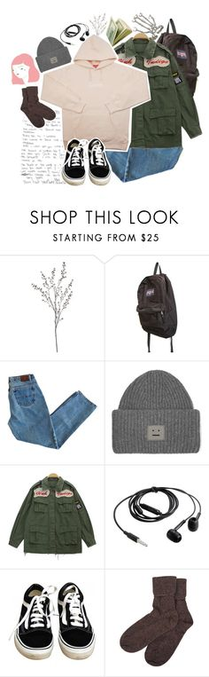 """""""nothing lasts forever, but wouldn't it be nice to stay together for the night"""" by hunter995 ❤ liked on Polyvore featuring Crate and Barrel, JanSport, Acne Studios, Chicnova Fashion, Vans, Brora and Bernard Delettrez"""