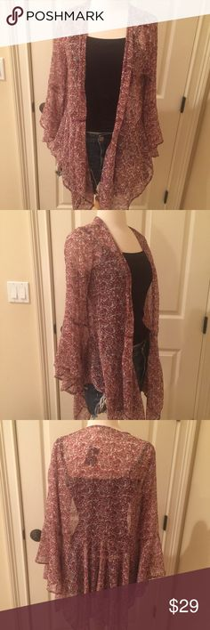 Holister size small cranberry paisley sheer top Holister size small cranberry and cream colored sheer top. Very versatile, can be dressed up or down. Brand new with tags. Holister Tops Blouses