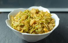 Hot Brussels sprouts (and apple) slaw