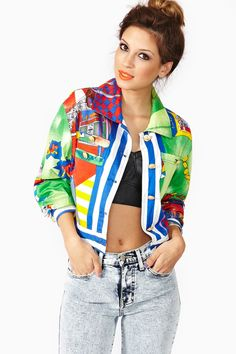 Versace Print Crop Jacket