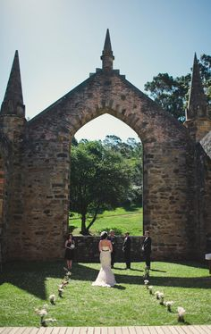 """Gorgeous location! Port Arthur's (convict) church ruins.. how pretty are the wild daisies covering the """"floor"""""""