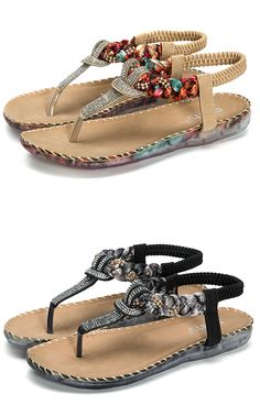 83b48034858ca Bohemian Bead Floral Elastic Clip Toe T Strap Slip On Flat Beach Sandals is  comfortable to wear. Shop on NewChic to see other cheap women sandals on  sale.