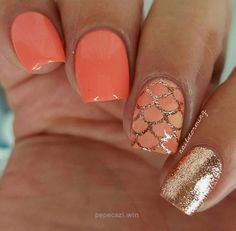Coral | Awesome Spring Nails Design for Short Nails | Easy Summer Nail Art Ideas…