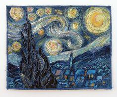van gogh quilt, starry night