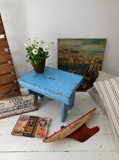 Painted stool with faded needlepoint seat available at Lavender ...