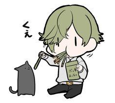 Pocky macha flavor x chibi x neko = infinite cuteness! Sword, Chibi, Pics, Kawaii, Neko, Kitsune, Anime, Touken Ranbu, Zelda Characters
