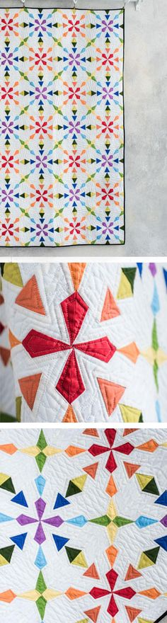 The colors and varied geometry in this modern quilt pattern are sure to make a statement in any room of your home!