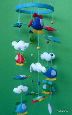 Felt Mobile with planes and Helicopters. by Kosucas on Etsy