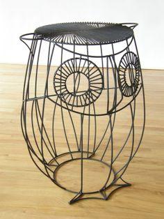 John Risley; Painted Metal owl Table, 1950s.