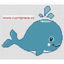 Whale, cross stitch
