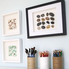 "Home decor ideas for pebbles...love this for all of those ""special"" rocks my kids have collected over the years!"