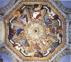 Magnificent vault of the Sacristy of St. Mark of the #SantuaryofLoreto. Cycle of frescoes by #Melozzo from Forlì (made between 1477-1479) concerning 8 #Angels bearing the symbols of the Passion of #Christ and 8 #Prophets with an inscription refering to a moment of the same passion. #marchespiritualroute #Loreto