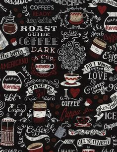 Morning Coffee by Gail Cadden C3772 in Black for Timeless Treasures by the Yard by SewPerfectlyVintage on Etsy