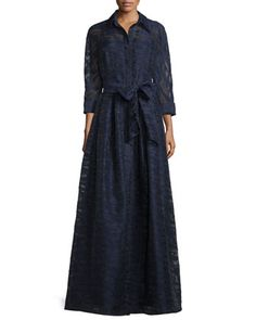 Long-Sleeve+Belted+Fil+Coupe+Gown,+Navy+by+Rickie+Freeman+for+Teri+Jon+at+Neiman+Marcus.