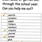 A simple form to send home when kids are running low on school supplies.  Students fill in their name, check off supplies they need, add any suppli...
