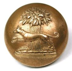 Antique Brass Livery Button - Greyhound & Sheaf of Wheat - Jennens - 7/8""