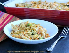 Creamy Chicken and Pasta Casserole Recipe Main Dishes with pasta, cream of mushroom soup, boneless skinless chicken breasts, chicken, butter-margarine blend, garlic, dried oregano, dried basil, crushed red pepper flakes, chicken broth, salt, black pepper, cheese, carrots, broccoli, onions