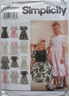 Girl's Dressy Dress with Shaped Waistline and Sleeve Variations - Simplicity 8967 Sewing Pattern - Sizes  7-8-10-12, Breast 26 - 30, UNCUT