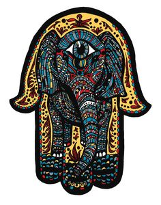 Elephant Hamsa Tattoo Print - All Seeing Eye