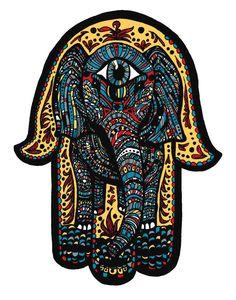 Elephant Hamsa Tattoo Print - All Seeing Eye