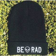 Be Rad Alien Knit Beanie Black Embroidered Toque Tuque Hat ❤ liked on Polyvore featuring accessories, hats, black beanie hat, embroidery hats, embroidered hats, beanie cap and knit beanie hats