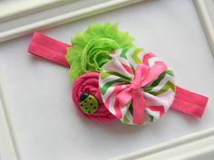 Ladybug Headband - Ladybug Shabby Chic Headband via Etsy