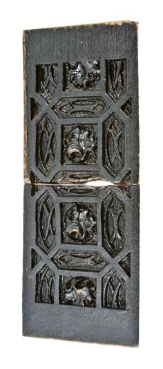 "Matching set of completely unrestored original 19th century Schiller Building exterior blackened reconfigured terra cotta window colonette panels with a ""wrightesque"" design motif - adler & sullivan, architects, chicago, il."