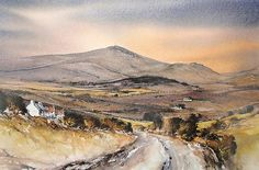 Evening Light Mount Leinster by Roland Byrne Irish Landscape, Landscape Paintings, Ireland, Watercolor, Wall Art, Image, Pen And Wash, Watercolor Painting, Landscape