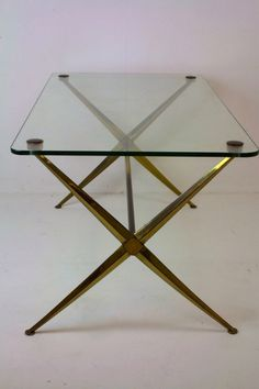 GILT ALUMINIUM, BRASS U0026 GLASS COFFEE TABLE, Circa 1960u0027s, In The Manner Of