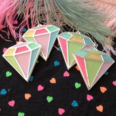 Pastel Diamond Earrings by imyourpresent on Etsy, $18.00