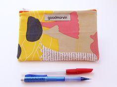 Yellow Zipper Pouch, Make Up Bag, Cosmetic Pouch, Coin Purse, Small Clutch, Woodland Print, Pencil Pouch, Tampon Bag, Gift Under 20 by goodmarvin on Etsy