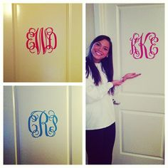 Monogram for doors. If you are in a suite-style dorm or an apartment this is a great idea! Door Monogram, Monogram Wall Decals, Monogram Stickers, Door Stickers, Monogram Letters, College House, College Dorm Rooms, College Life, College Closet