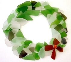 Sea Glass Wreath: ~ Submitted by Michele Kelley   Michele sent in photos of three separate art/crafts projects that are renewable or temporary:  Sea Glass Gingerbread House